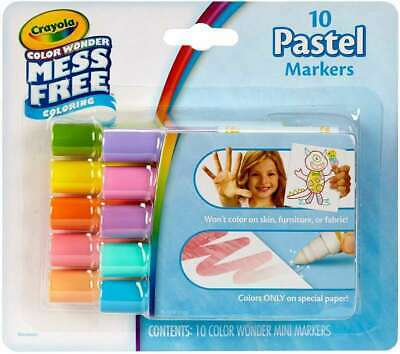 Crayola Color Wonder Mess Free Mini Markers 10/Pkg Pastels Kids Arts Craft - Crayola Color Wonder Markers