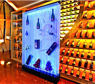 Large 6.5' x 4' LED Bubble Wall Water Fountain Display Panel w/ Shelves  COLOR
