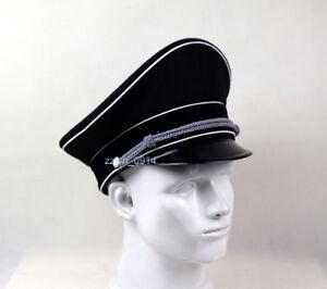Replica German Elite Officer Wool Hat Officer Cap Black