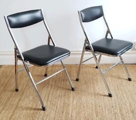 Pair of Rare Mid Century Chrome Fold Up Chairs