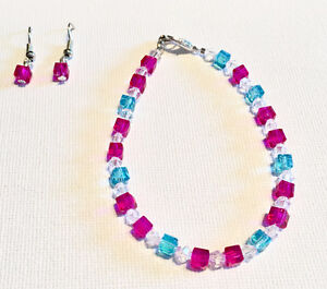 Square Beaded Bracelet and Earring Sets