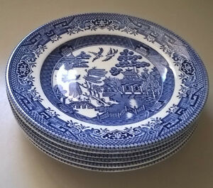 """Churchill England Blue Willow 6 3/4"""" Saucers / Plates"""