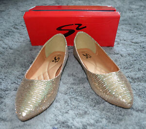 Stepss Shoes Size 41 Gold Glitter Ballet Flats with Pointy Toes