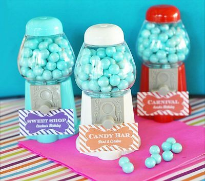 24 PERSONALIZED Mini Gumball Machine Birthday Party Wedding Favors - Gumball Machine Party Favors