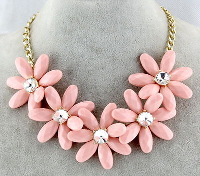 Fashion Charm Women Pink Chunky Statement Bib Pendant Chain Choker Necklace
