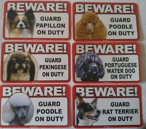 Beware of Dog Sign - Papillon to Rat Terrier