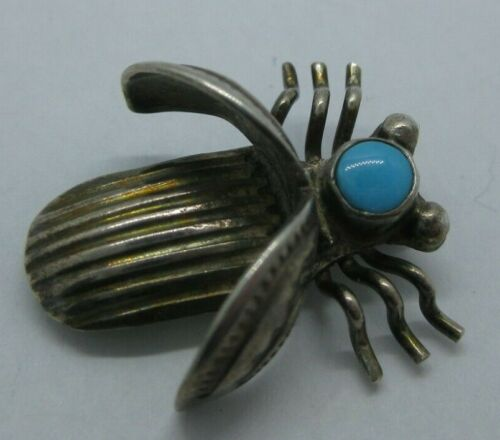 Antique Vintage Sterling Silver Native Navajo Turquoise Beetle Bug Pin Brooch