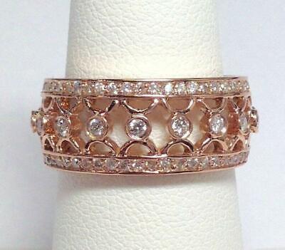 3Ct Round Cut Diamond Filigree Vintage Women Wedding Band 14ct Rose Gold Over