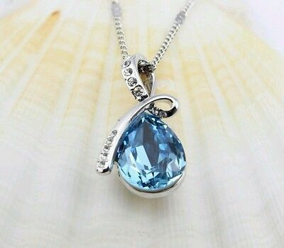 austrian blue crystal angel tear drop necklace with gift box pretty  Austrian Crystal Angel Necklace