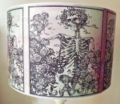 Halloween Lampshade,light shade,Floral Skeleton, pink green, Gothic Free Gift - Halloween Lamp Shades