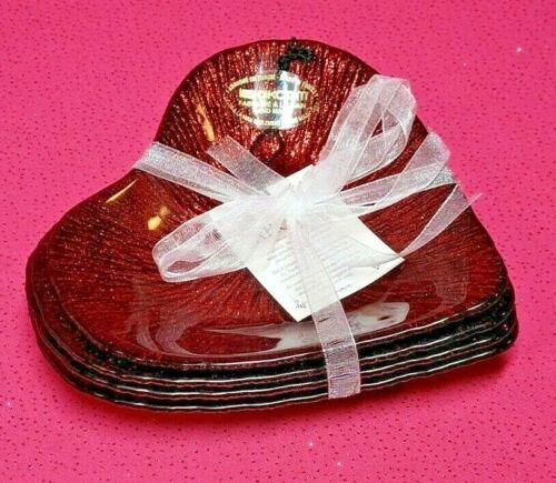 AKCAM TURKISH GLASS HEART~SET OF 4~RED GLITTERED VALENTINE APPETIZER PLATES~NWT