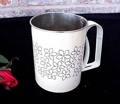 - Vintage Flour Sifter 3 Cup Ivory Gray Flowers One Hand Operation Androck USA
