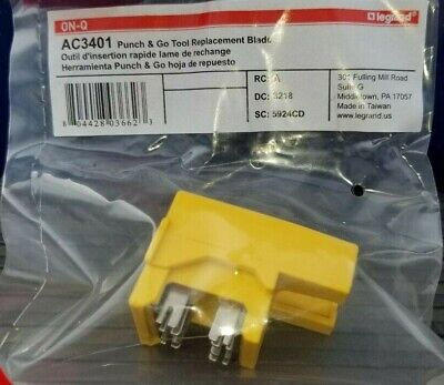 Lot Of 3 Legrand - On-q Ac3401 Punch Go Tool Replacement Blade New