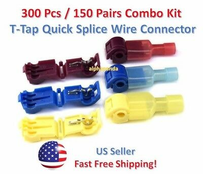 300pc Insulated 22-10 Awg T-taps Quick Splice Wire Terminal Connectors Combo Kit