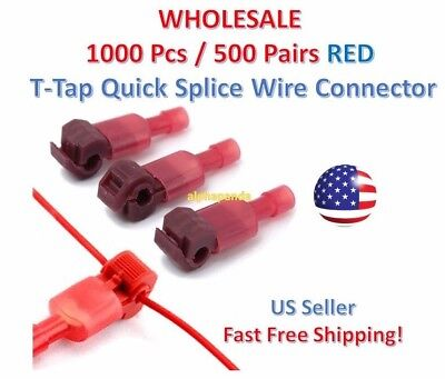 1000pc Insulated 22-18 Awg T-taps Quick Splice Wire Terminal Connectors Kit Red