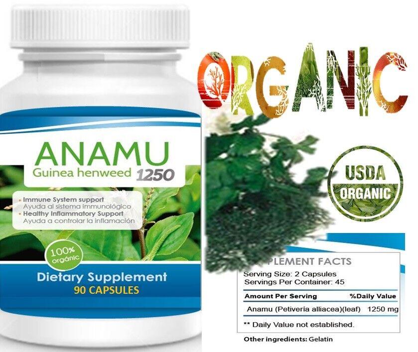 Anamu 100% Organic Petiveria Immune Support detoxification 180 capsule 1250mg 2B 1
