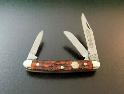"""VINTAGE BOKER TREE BRAND USA 8388 """"OLDE STAG"""" SMALL STOCKMAN KNIFE;NR"""