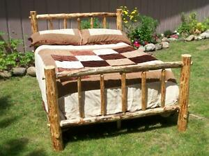 Twin-Full-Queen-King-Rustic-Pine-Log-Bed-Frame-country-lodge-cabin-western-wood