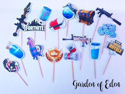 CUPCAKE PICKS X 16 FORT TOPPERS BIRTHDAY PARTY CAKE NITE GAMING XBOX PS4 ()