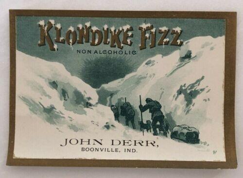 1900s KLONDIKE Fizz SODA Bottle Label DOG SLED Boonville Indiana ANTIQUE Advrtse