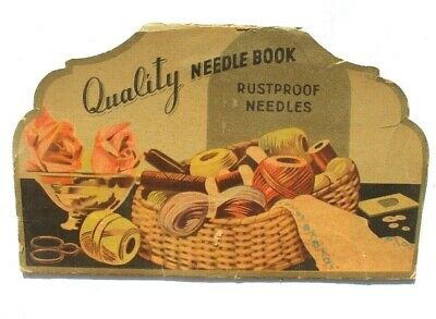 Antique Vtg Needle Book Sample Case Advertising Girl Sewing Rust Proof