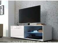 Brand New WHITE GLOSS Cabinet TV Unit TV Stand 100cm wide RRP £120