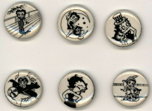 """1980s Betty Boop (set of 6) 1"""" Pinback Button"""