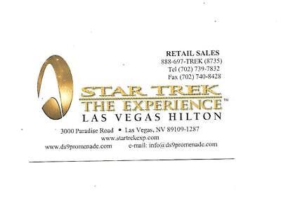 Star Trek   THE EXPERIENCE  Business Card   Las Vegas Hilton  Now dismantled