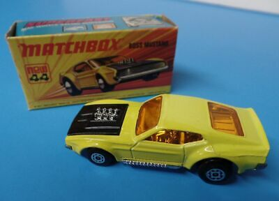 Matchbox Lesney Superfast No. 44-B  YELLOW FORD BOSS MUSTANG With Box
