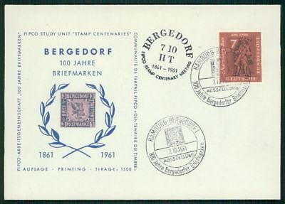 """BRD SONDERBELEG 1961 """"BERGEDORF 100 JAHRE BRIEFMARKEN"""" AUFLAGE NUR 1.500 !! m649"""