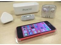Pink Apple iPhone 5C 32GB Mobile Phone On Vodafone / Lebara / Talk Talk+ Free Case + Warranty