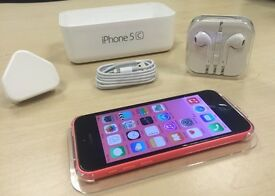 Boxed Pink Apple iPhone 5C 32GB Mobile Phone on Vodafone / Lebara / Talktalk Networks + Warranty