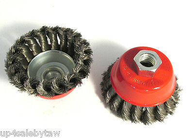 "3"" Knot Type Wire Cup Brush for 5/8"" arbor for angle grinders"