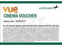 2 Vue Cinema Vouchers