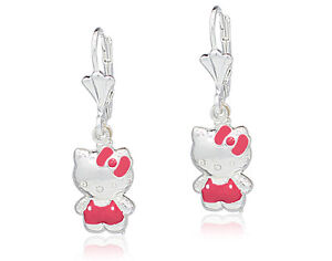 Genuine Sterling Silver 925 3D Hello KITTY Earrings Leverback Girl Teens Lady