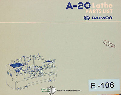 Daewoo A20 Lathe Parts List Manual
