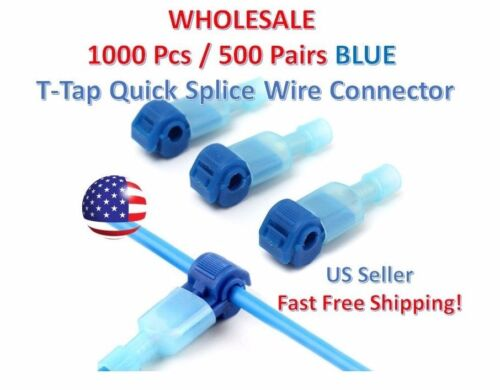 1000pc Insulated 16-14 AWG T-Taps Quick Splice Wire Terminal Connectors Kit BLUE