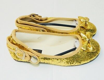 GIRLS - WEDDING - DRESS UP - PARTY - GOLD GLITTER FLATS SHOES w/Bowtie Size 7-2 (Girls Gold Party Shoes)