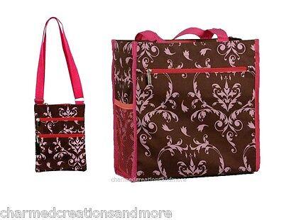2pc Pink Brown Damask Shopper Tote Handbag Purse Diaper Bag And Cross Body Sling (Diaper Bag Pink And Brown)