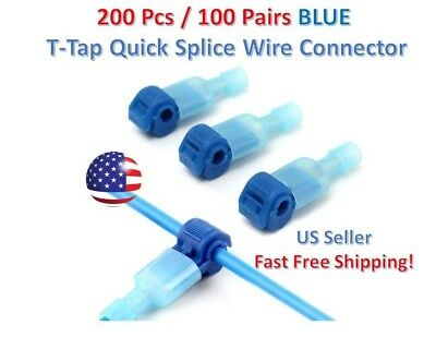 200pc Insulated 16-14 Awg T-taps Quick Splice Wire Terminal Connectors Kit Blue