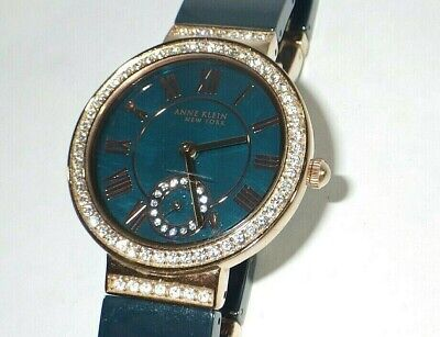 Anne Klein Women's 12/2300NVRG Black & Rose Gold Tone Watch