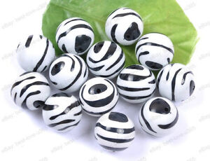 BLACK-WHITE-ZEBRA-STRIPE-Acrylic-Round-BEADS-Choose-10MM-12MM-16MM-20MM-25MM