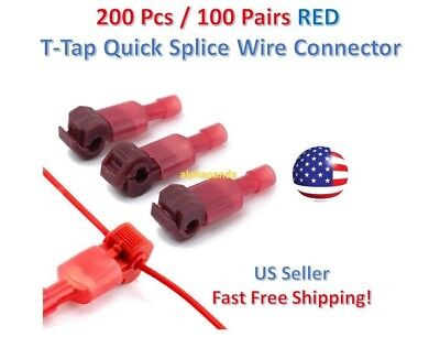 200pc Insulated 22-18 Awg T-taps Quick Splice Wire Terminal Connectors Kit Red