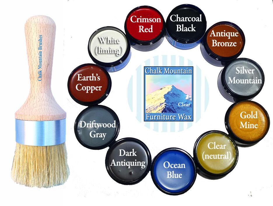 Chalk Furniture Paint Wax Brush Kit &  4 oz Wax Jar Choose f