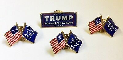 Donald Trump Make America Great Again Lapel Pin Set Build The Wall America First