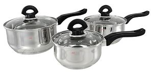induction buckingham stainless steel 3 pc saucepan pan pot set casserole steel ebay. Black Bedroom Furniture Sets. Home Design Ideas