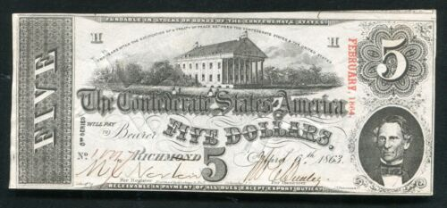 T-60 CR. 459 1863 $5 FIVE DOLLARS CSA CONFEDERATE STATES OF AMERICA ABOUT UNC