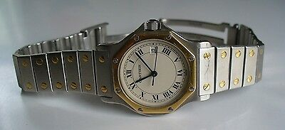 Midsize Cartier Santos Octagon Steel 18K Gold 31MM Date Quartz Watch