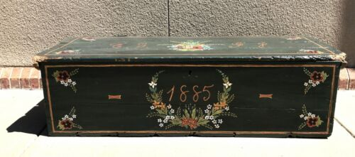 Antique Blanket Chest Hand Painted 1885
