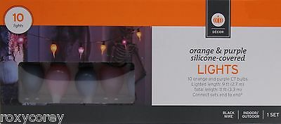 Halloween 10 Count Orange & Purple Silicone Covered Lights Lighted Length 9 ft